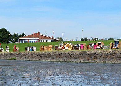 Blick auf den Strand, Büsumer Deichhausen, Dithmarschen