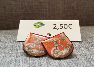 Pin in der Form des Heider Wappens in Rot 2,50€