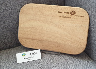 Holzbrettchen mit dem Heider Logo eingebrannt oben rechts 4,90€