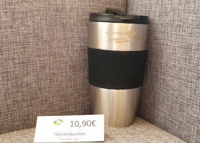 Silberner Thermobecher mit dem Heide logo, 10,90€
