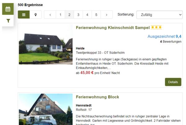 Ansicht Buchungsstrecke auf echt-dithmarschen.de