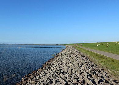 Der Nordsee-Deich bei Wesselburen