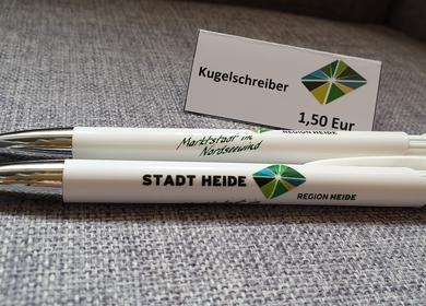 Weißer Kugelschreiber mit dem Heider Logo 1,50€